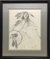 Bear Shield Original Sketch framed